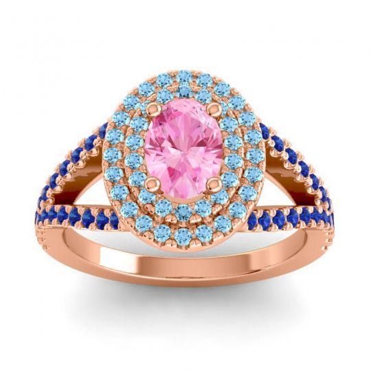 Ornate Oval Halo Dhala Pink Tourmaline Ring with Aquamarine and Blue Sapphire in 14K Rose Gold
