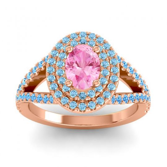Ornate Oval Halo Dhala Pink Tourmaline Ring with Aquamarine and Swiss Blue Topaz in 18K Rose Gold