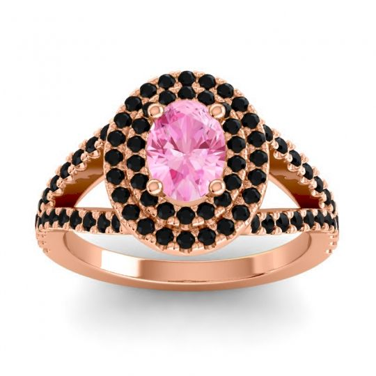 Ornate Oval Halo Dhala Pink Tourmaline Ring with Black Onyx in 18K Rose Gold