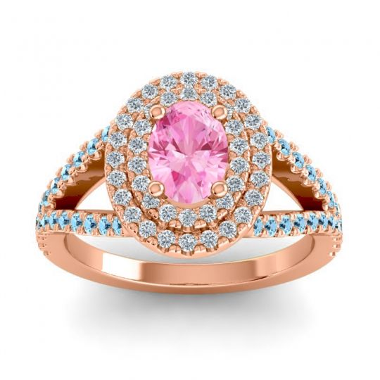 Ornate Oval Halo Dhala Pink Tourmaline Ring with Diamond and Aquamarine in 14K Rose Gold