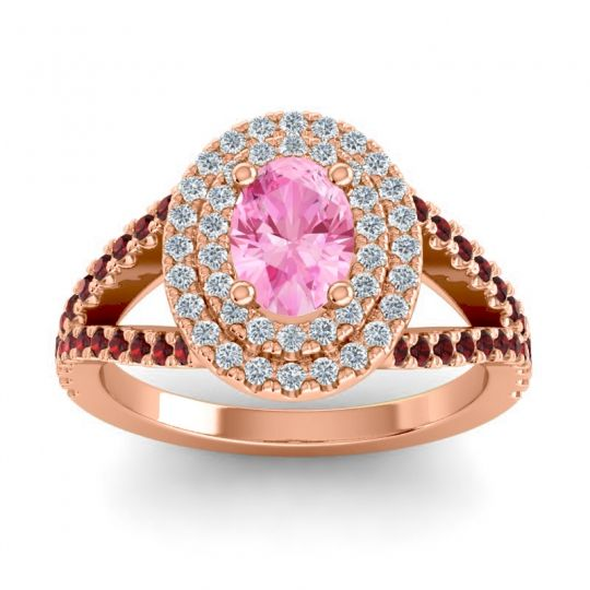 Ornate Oval Halo Dhala Pink Tourmaline Ring with Diamond and Garnet in 14K Rose Gold
