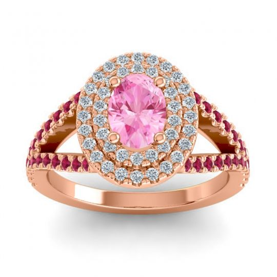 Ornate Oval Halo Dhala Pink Tourmaline Ring with Diamond and Ruby in 18K Rose Gold