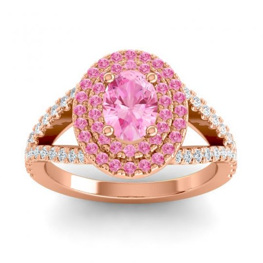 Ornate Oval Halo Dhala Pink Tourmaline Ring with Diamond in 14K Rose Gold