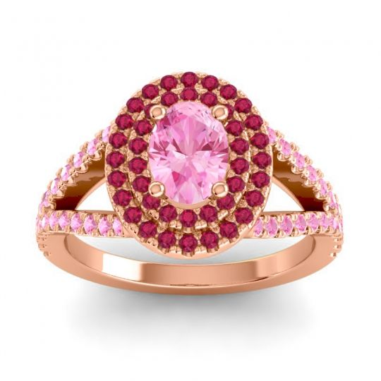 Ornate Oval Halo Dhala Pink Tourmaline Ring with Ruby in 18K Rose Gold