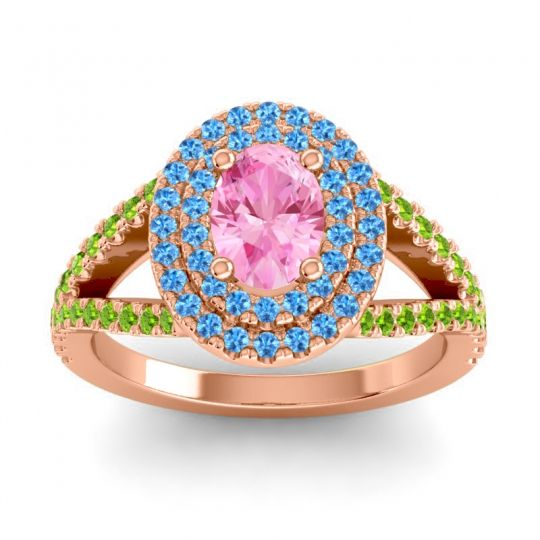 Ornate Oval Halo Dhala Pink Tourmaline Ring with Swiss Blue Topaz and Peridot in 14K Rose Gold