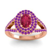 Ornate Oval Halo Dhala Ruby Ring with Amethyst in 18K Rose Gold