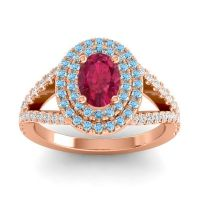 Ornate Oval Halo Dhala Ruby Ring with Aquamarine and Diamond in 14K Rose Gold