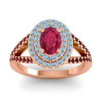 Ornate Oval Halo Dhala Ruby Ring with Aquamarine and Garnet in 18K Rose Gold