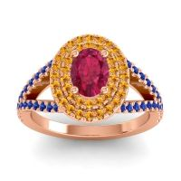 Ornate Oval Halo Dhala Ruby Ring with Citrine and Blue Sapphire in 14K Rose Gold