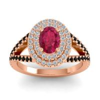 Ornate Oval Halo Dhala Ruby Ring with Diamond and Black Onyx in 14K Rose Gold