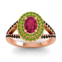 Ornate Oval Halo Dhala Ruby Ring with Peridot and Black Onyx in 14K Rose Gold