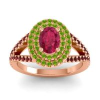 Ornate Oval Halo Dhala Ruby Ring with Peridot and Garnet in 14K Rose Gold