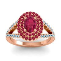 Ornate Oval Halo Dhala Ruby Ring with Aquamarine in 14K Rose Gold