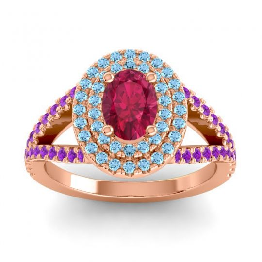 Ornate Oval Halo Dhala Ruby Ring with Aquamarine and Amethyst in 14K Rose Gold