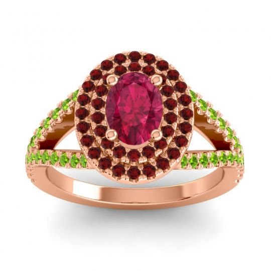 Ornate Oval Halo Dhala Ruby Ring with Garnet and Peridot in 14K Rose Gold