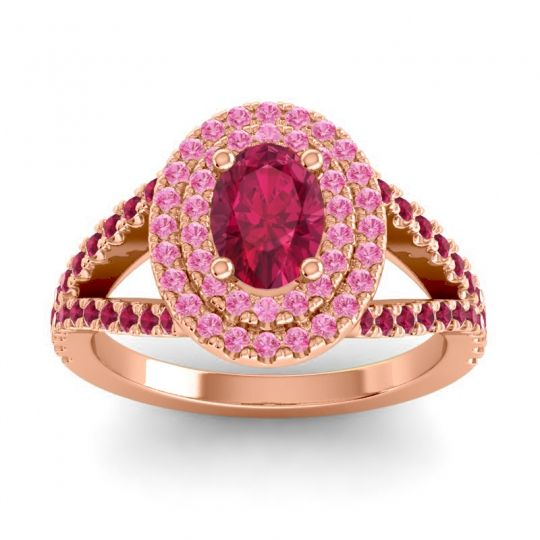 Ornate Oval Halo Dhala Ruby Ring with Pink Tourmaline in 18K Rose Gold
