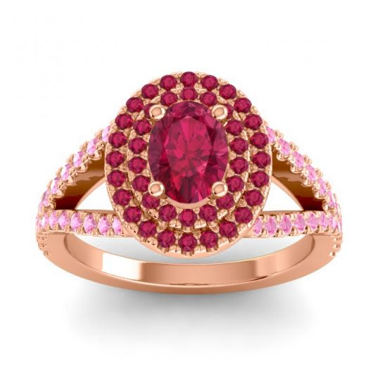 Ornate Oval Halo Dhala Ruby Ring with Pink Tourmaline in 14K Rose Gold