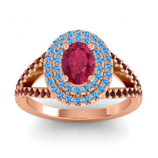 Ornate Oval Halo Dhala Ruby Ring with Swiss Blue Topaz and Garnet in 14K Rose Gold