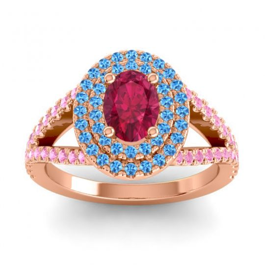 Ornate Oval Halo Dhala Ruby Ring with Swiss Blue Topaz and Pink Tourmaline in 14K Rose Gold
