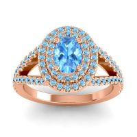 Ornate Oval Halo Dhala Swiss Blue Topaz Ring with Aquamarine in 18K Rose Gold