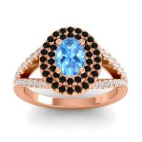Ornate Oval Halo Dhala Swiss Blue Topaz Ring with Black Onyx and Diamond in 14K Rose Gold