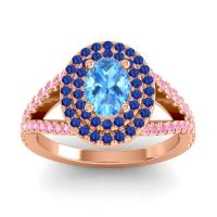 Ornate Oval Halo Dhala Swiss Blue Topaz Ring with Blue Sapphire and Pink Tourmaline in 18K Rose Gold