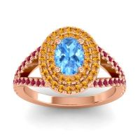 Ornate Oval Halo Dhala Swiss Blue Topaz Ring with Citrine and Ruby in 18K Rose Gold