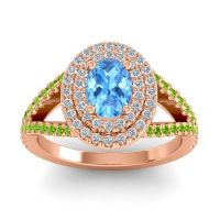 Ornate Oval Halo Dhala Swiss Blue Topaz Ring with Diamond and Peridot in 18K Rose Gold