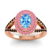 Ornate Oval Halo Dhala Swiss Blue Topaz Ring with Pink Tourmaline and Black Onyx in 14K Rose Gold