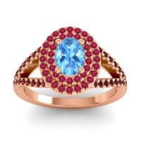 Ornate Oval Halo Dhala Swiss Blue Topaz Ring with Ruby and Garnet in 18K Rose Gold