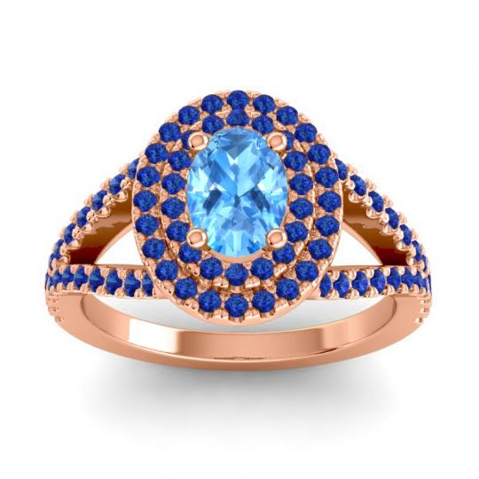 Ornate Oval Halo Dhala Swiss Blue Topaz Ring with Blue Sapphire in 18K Rose Gold