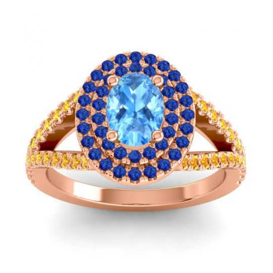 Ornate Oval Halo Dhala Swiss Blue Topaz Ring with Blue Sapphire and Citrine in 18K Rose Gold
