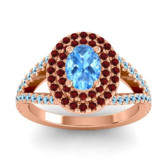 Ornate Oval Halo Dhala Swiss Blue Topaz Ring with Garnet and Aquamarine in 14K Rose Gold