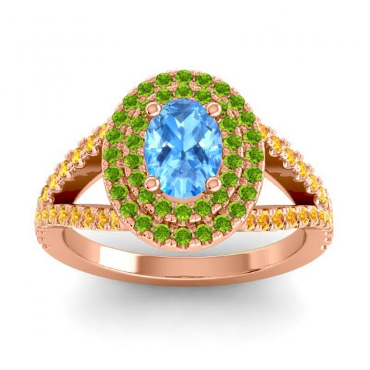 Ornate Oval Halo Dhala Swiss Blue Topaz Ring with Peridot and Citrine in 18K Rose Gold