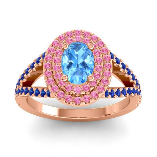 Ornate Oval Halo Dhala Swiss Blue Topaz Ring with Pink Tourmaline and Blue Sapphire in 18K Rose Gold