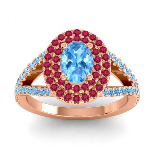 Ornate Oval Halo Dhala Swiss Blue Topaz Ring with Ruby in 14K Rose Gold