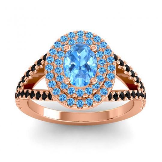 Ornate Oval Halo Dhala Swiss Blue Topaz Ring with Black Onyx in 18K Rose Gold