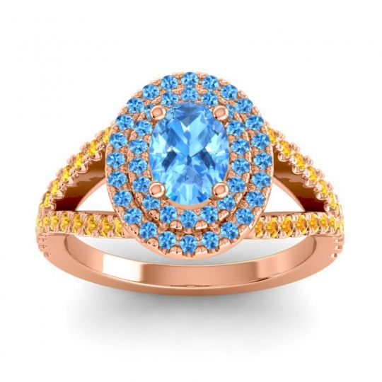 Ornate Oval Halo Dhala Swiss Blue Topaz Ring with Citrine in 14K Rose Gold