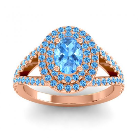Ornate Oval Halo Dhala Swiss Blue Topaz Ring in 14K Rose Gold