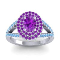 Ornate Oval Halo Dhala Amethyst Ring with Swiss Blue Topaz in Palladium