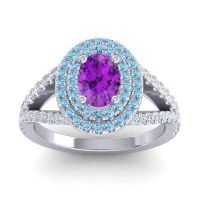 Ornate Oval Halo Dhala Amethyst Ring with Aquamarine and Diamond in 14k White Gold