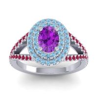 Ornate Oval Halo Dhala Amethyst Ring with Aquamarine and Ruby in Palladium