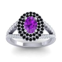 Ornate Oval Halo Dhala Amethyst Ring with Black Onyx and Diamond in 14k White Gold