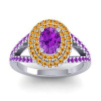 Ornate Oval Halo Dhala Amethyst Ring with Citrine in 18k White Gold