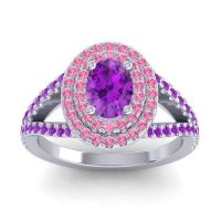 Ornate Oval Halo Dhala Amethyst Ring with Pink Tourmaline in Palladium