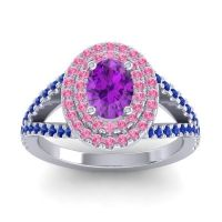 Ornate Oval Halo Dhala Amethyst Ring with Pink Tourmaline and Blue Sapphire in Platinum