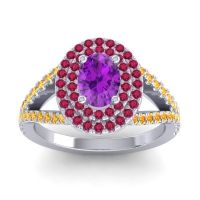 Ornate Oval Halo Dhala Amethyst Ring with Ruby and Citrine in 18k White Gold