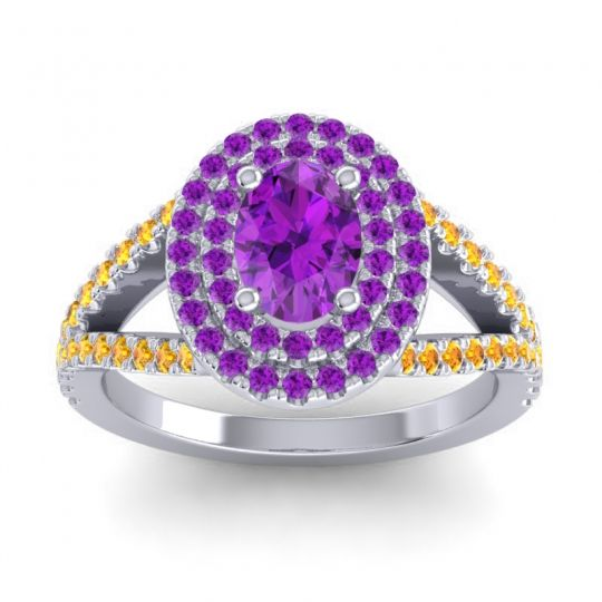 Ornate Oval Halo Dhala Amethyst Ring with Citrine in Platinum