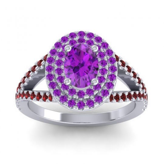 Ornate Oval Halo Dhala Amethyst Ring with Garnet in Platinum