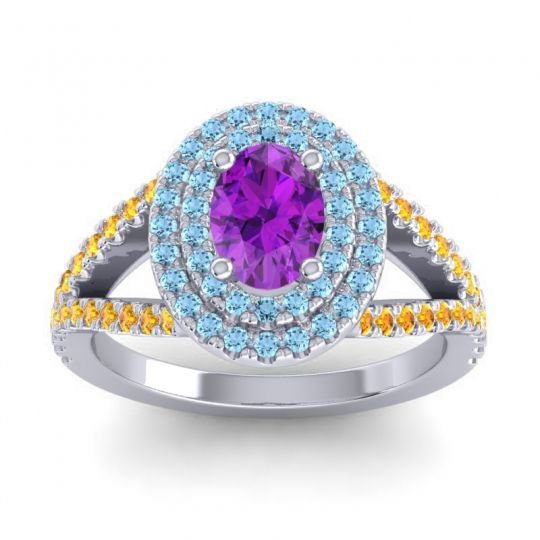 Ornate Oval Halo Dhala Amethyst Ring with Aquamarine and Citrine in 18k White Gold